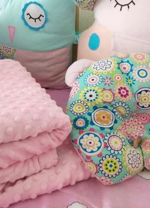 Плюшевое двухстороннее одеялко ортопедическая подушка