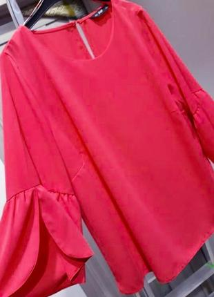 Блузка топ красного кораллового цвета свободного покроя с широкими рукавами