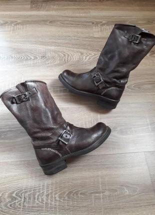 Байкерские кожаные сапоги мото ботинки harley davidson