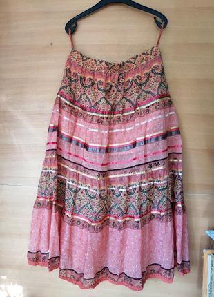 Длинная юбка с кружевом пояс резинка