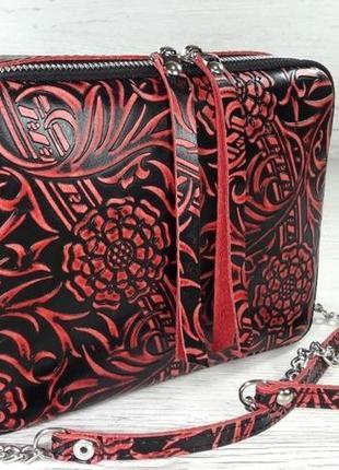 Шикарсная сумка из натуральной кожи с тиснением, ручная работа