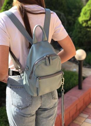 Женский кожаный рюкзак голубой бронза жіночий шкіряний ранець блакитний