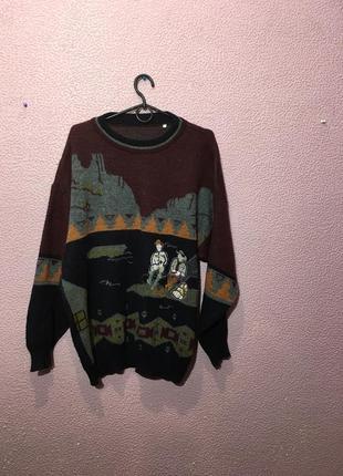 Шерстяной свитер с ковбоями