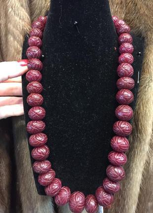 Бусы рубин индия бусы из камня рубин рубиновые бусы