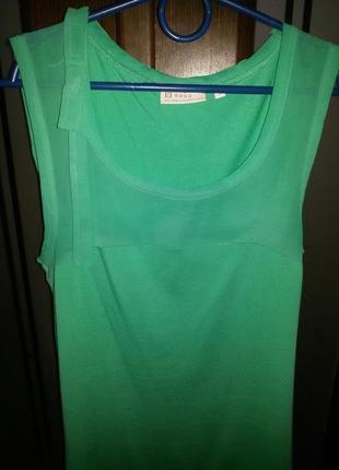 Майка зелёная с вставкой