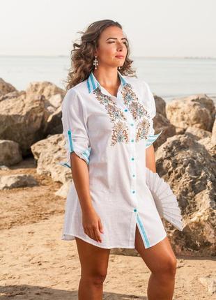 Пляжная рубашка, туника с хлопка 1118 anastasia 2019