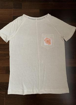 Майка тениста футболка @don.bacon бежевого цвета