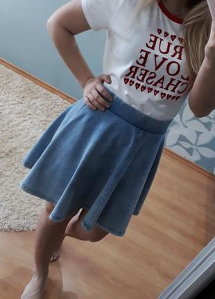 Стильная котоновая  короткая юбка солнце topshop