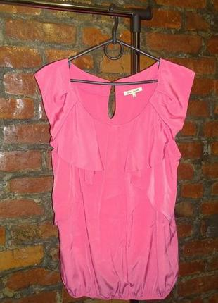 Блуза топ кофточка с рюшами из мокрого шелка river island