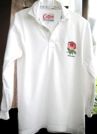 Белая трикотажная коттоновая рубашка р s c вышивкой