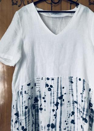 Шикарное белое льняное платье2 фото