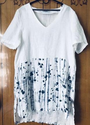 Шикарное белое льняное платье