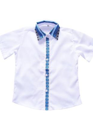 Белая рубашка вышиванка на мальчика с коротким рукавом