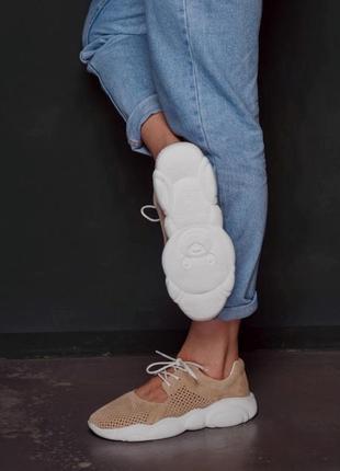 Натуральный замш эксклюзивная коллекция teddy летние кроссовки беж