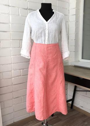 Нежно-розовая легкая летняя льняная длинная юбка lands'end l-xl л-хл