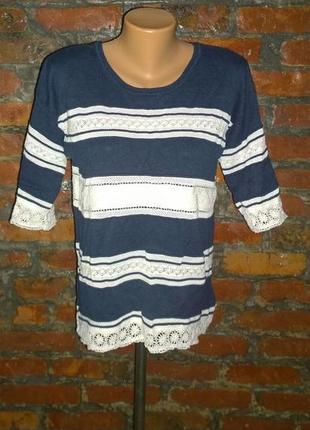 Блуза кофточка декорированная кружевом f&f