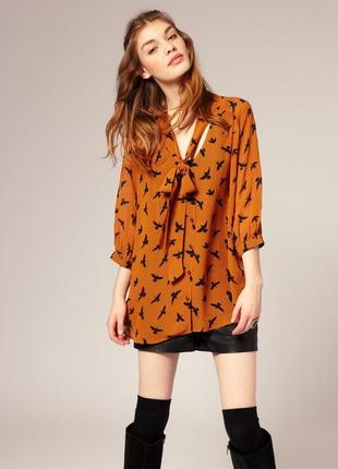 Горчичная шифоновая легкая летняя блузка рубашка с бантом ласточками asos s с2 фото
