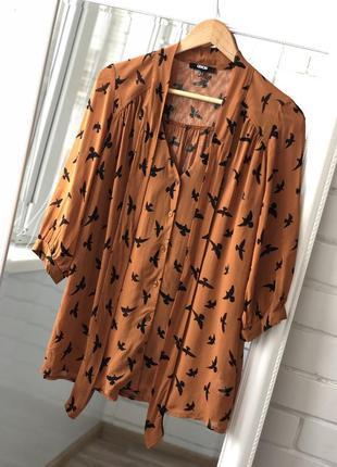 Горчичная шифоновая легкая летняя блузка рубашка с бантом ласточками asos s с7 фото