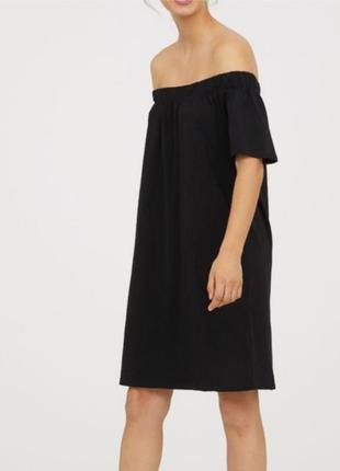 Хлопковое трикотажное платье со спущенными плечами h&m