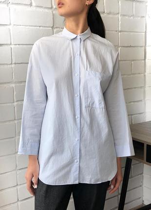 e37d8bc190a Голубая классическая оверсайз рубашка с накладным карманом 3 4 рукав zara s  с
