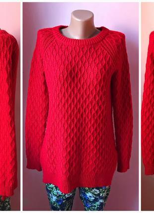 Длинный акриловый свитер джемпер красного цвета. s