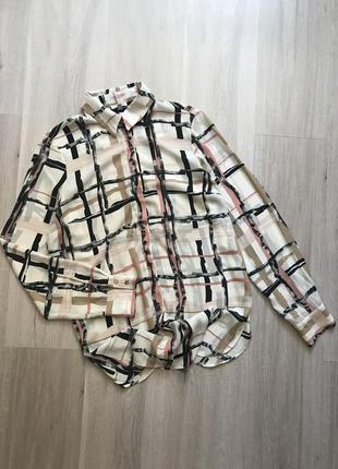 Подовжена сорочка рубашка в принт river island m