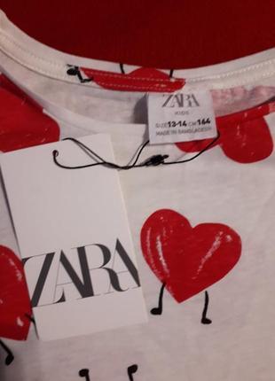 Коттоновая футболка zara в сердечки на рост 1643 фото