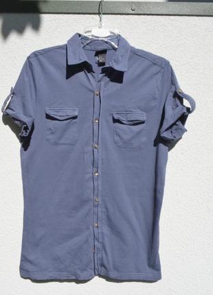 Стильная фирменная  трикотажная рубашка из котона