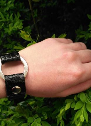 Женский, кожаный, черный браслет на руку