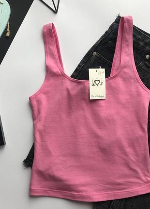Стильный розовый топ / укороченная розовая майка под высокую талию