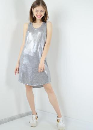 H&m свободное серое, серебристое мини платье майка с эффектом металлик