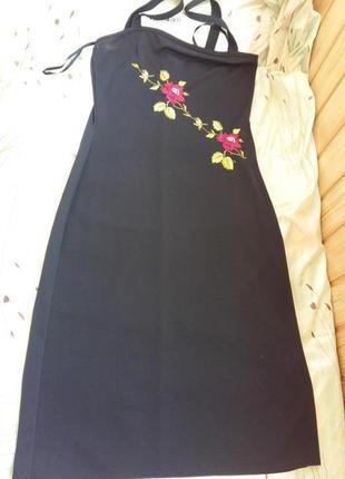693c1985d6d Черное платье на бретелях сарафан с вышивкой river island 48-50р.