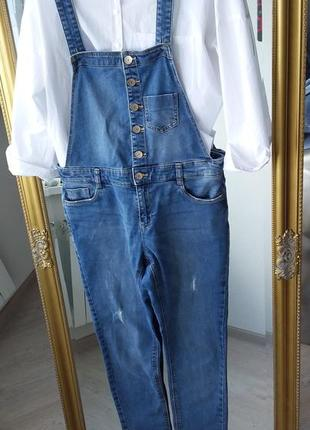 Комбинезон джинсовый denim co стрейчевый джинсы скини ромпер комбез
