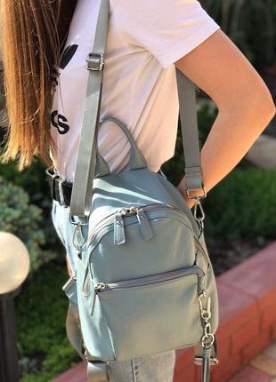 Женский кожаный рюкзак голубой бронза жіночий шкіряний ранець блакитний3 фото