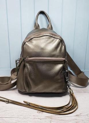 Женский кожаный рюкзак голубой бронза жіночий шкіряний ранець блакитний4 фото