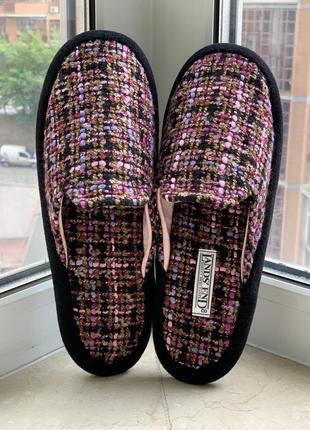 Тапочки бренда lands' end домашние из букле розово-фиолетового цвета