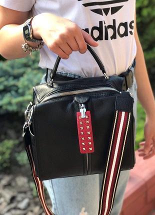 Женская кожаная сумка polina & eiterou черная жіноча шкіряна чорна