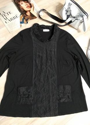 Крутая стильная брэндовая блузка рубашка кофточка черная большого размера