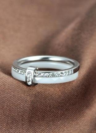 Кольцо белое керамическое колечко керамика