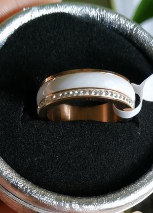 Кольцо керамика белое колечко керамическое