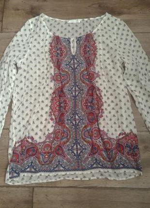 Легкая батистовая. миленькая хлопковая блузка promod zara. оригинал