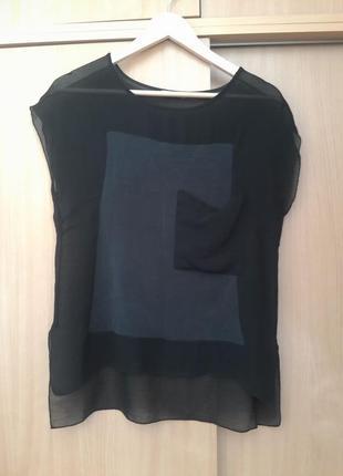 Стильная шелковая футболка блузка zara. оригинал