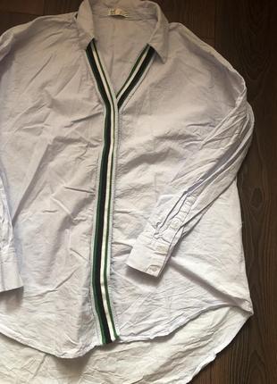 Удлиненная рубашка zara с лампасом
