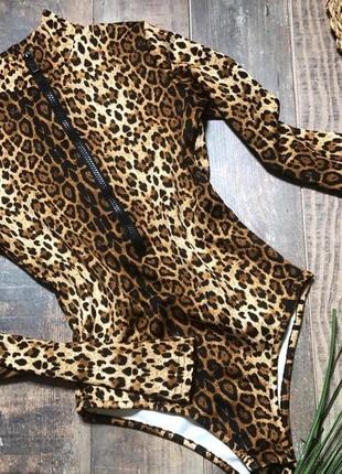 Леопардовый сексуальный боди гольф