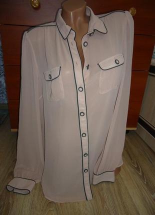 6de53a1dac5ac0b Деловая, нарядная шифоновая блуза, рубашка с карманами zara. размер l.
