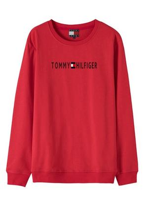 Эффектный коттоновый красный свитшот tommy hilfiger