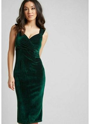 c8e12480521 Непревзойденное бархатное платье миди изумрудного оттенка rock steady