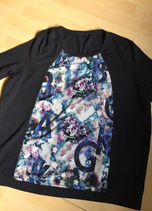 Стильная натуральная кофточка-футболка темно-синяя
