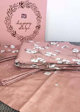 Постельное белье tac сатин - lennie розовый евро комплект