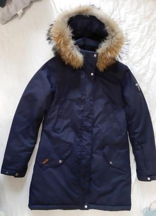 Мембранная теплая зимняя куртка на зиму темно-синяя с мембраной парка